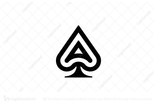 Logo for sale: Ace of Spades Logo, Ace, spades, letter, A, genius, wizard, top-notch, superior, tiptop, one, single, prime, superb, king, champion, champ, expert, black, poker, game, designers, unique, creative, clever, branding, logos