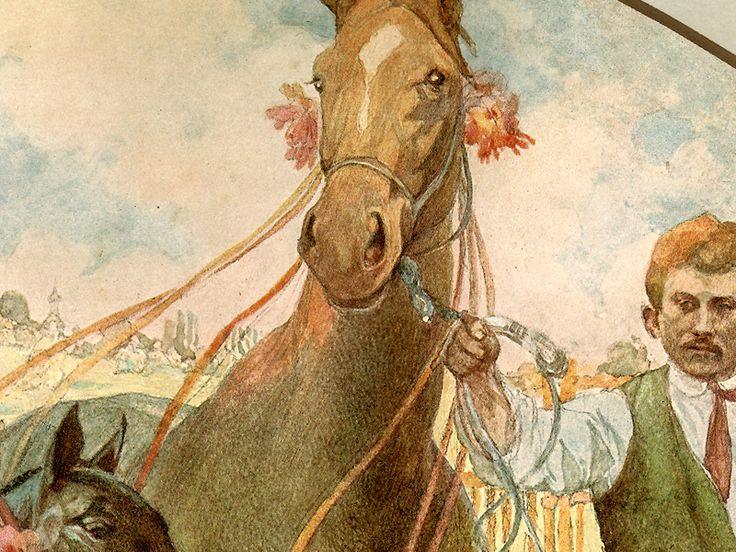 """Detail obratu """"Desatero pro chovatele koní"""" z 30. let minulého století, kresba od A. Muchy."""