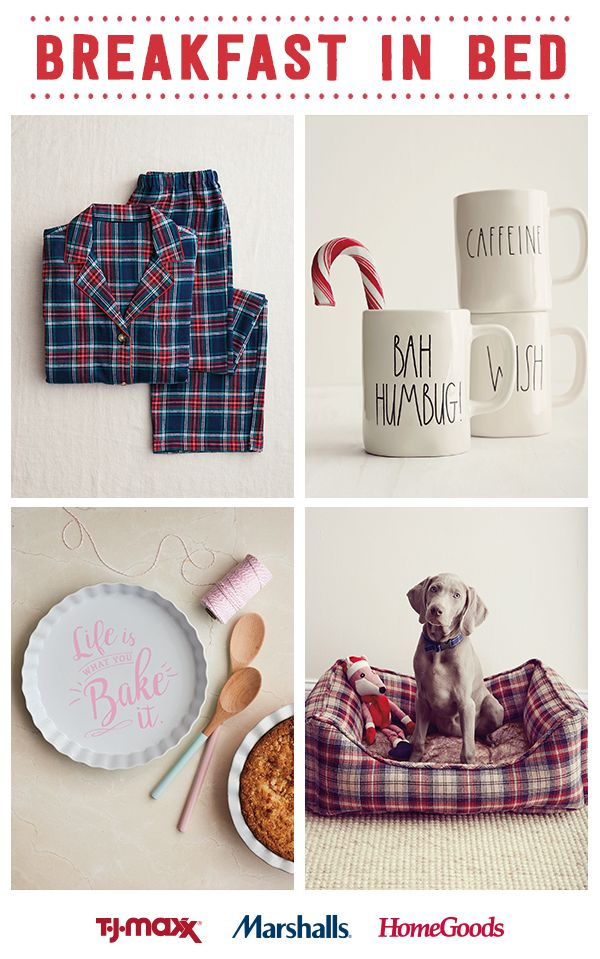 Cozy up this holiday with the ultimate treat – breakfast in bed. Cuddle up with a soft pajama set, enjoy a steaming cup of coffee and hang with your favorite furry friend. Get all the breakfast in bed essentials and more at amazing prices when you visit a T.J.Maxx, Marshalls and HomeGoods store today.