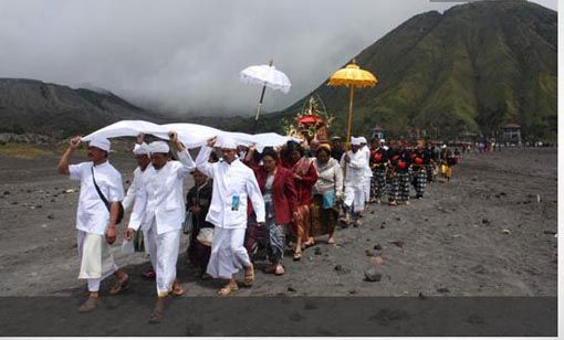 Kasodo ceremony of Tengger people at Mt. Bromo