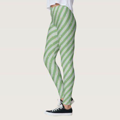 Christmas Green Stripes & Snow Seamless Pattern Leggings - modern gifts cyo gift ideas personalize