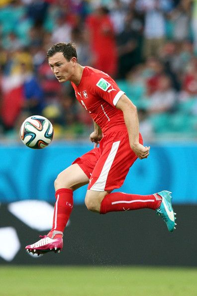 Stephan Lichtsteiner of Switzerland controls the ball during the 2014 FIFA World Cup Brazil Group E match between Switzerland and France at ...