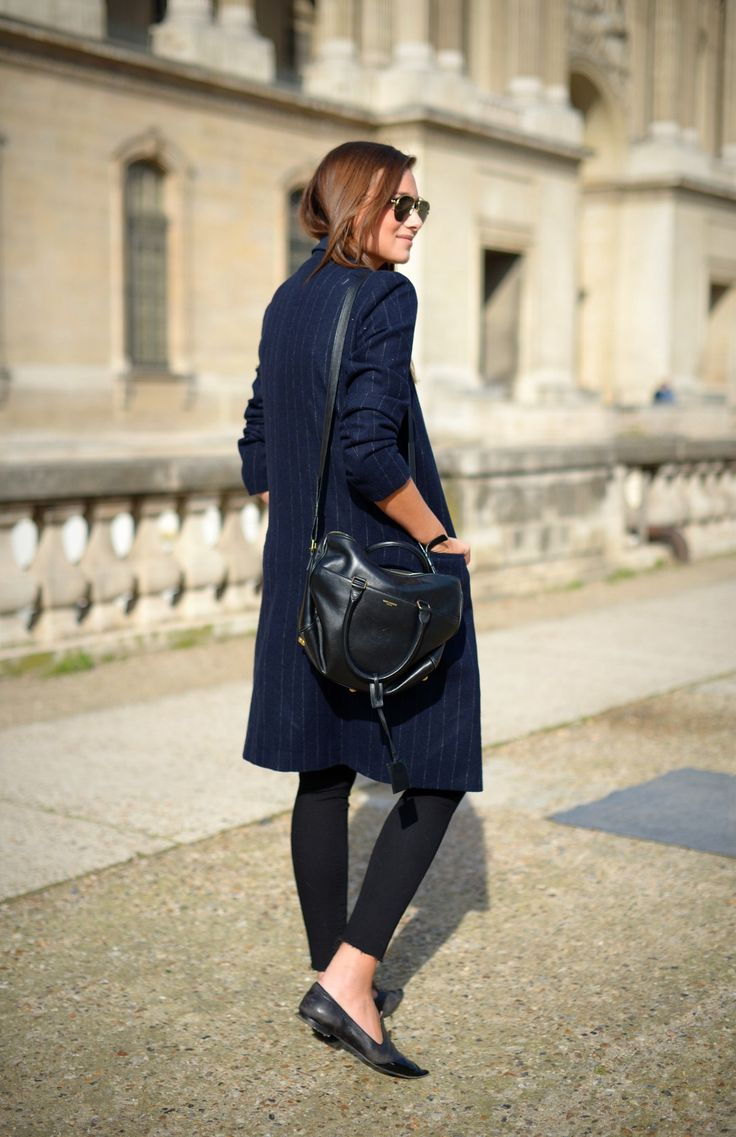 Navy coat and black skinnies