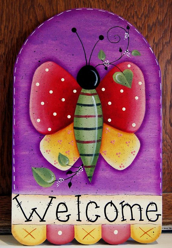 Garden Butterfly Wood Welcome Yard Stake Outdoor Sign