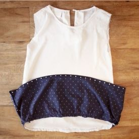 Turn some remnant material and a boxy grandma shirt into an Anthropologie inspired top!