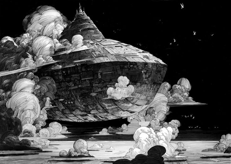 Nicolas Delort's black-and-white airship roars onto the page in this piece inspired by the legendary artist Moebius.