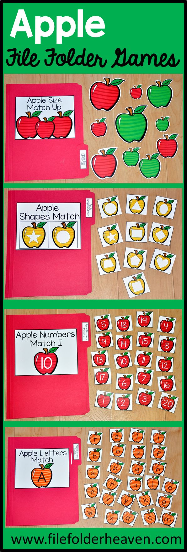 These Apple File Folder Games  are fun for the beginning of the school year or during the fall season. .  This set includes eight unique file folder games with three bonus games for differentiation (for a total of 11 games!) These activities  focus on basic skills, such as matching picture to picture, matching shapes, matching numbers, matching by size, sorting by size, sorting by color, and sorting by likeness and differences.