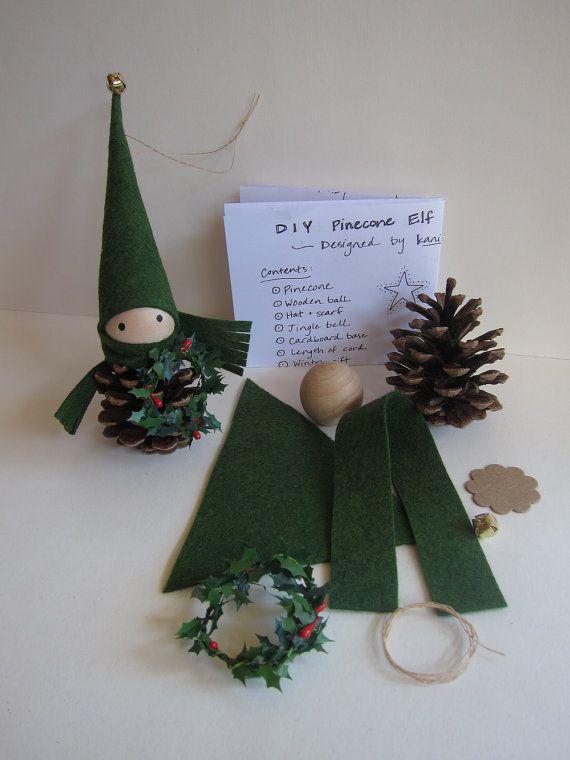 DIY Pinecone Elf Ornament Kit -- Woodland Holiday Decor - Forest Gnome - Tabletop Mantel Tree - Stocking Stuffer