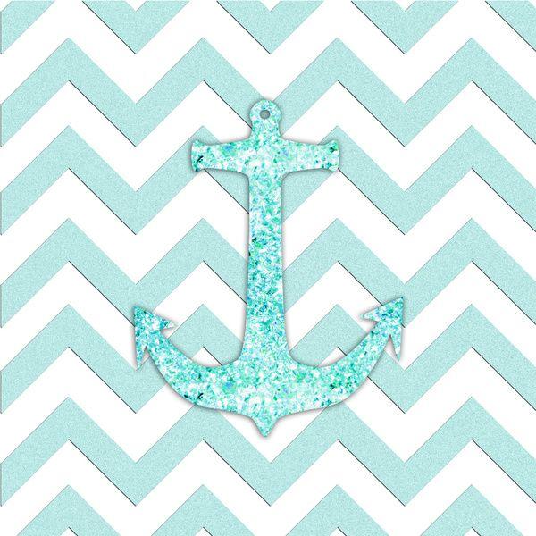 Sail With Me Glitter Nautical Anchor Teal Blue Chevron