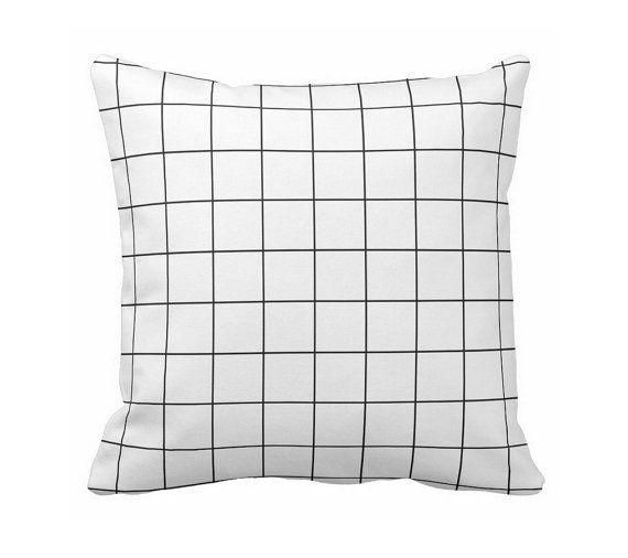 + grid pillow white black - minimalistic modern cushion home decor by lilamaude