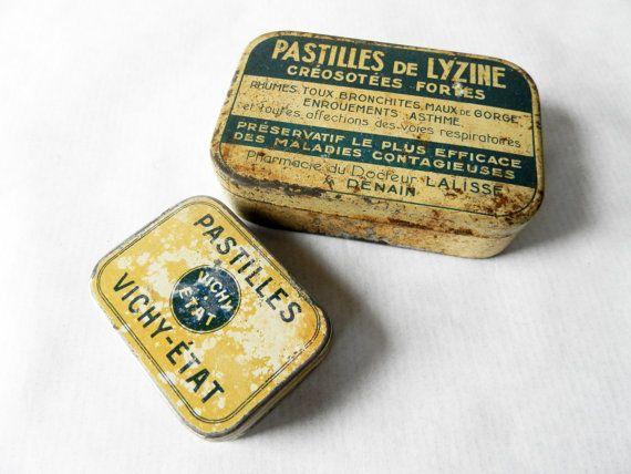Vaderdag cadeau / Franse vintage TIN medische vakken, wit, beige/Franse decor / medische Rariteitenkabinet