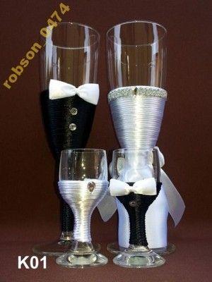 Kieliszki do szampana wódki ślubne weselne 8 wzor*