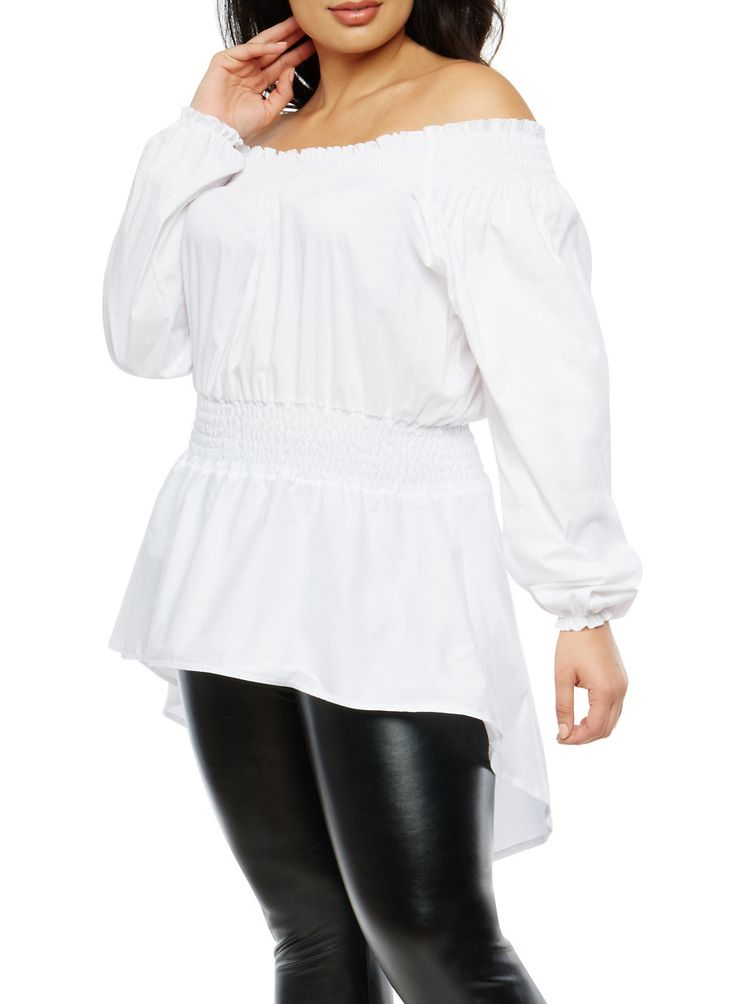 Plus Size Off the Shoulder High Low Top,WHITE,large