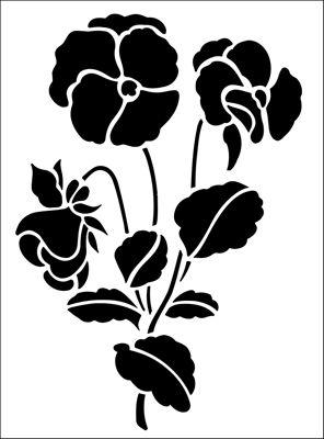 Pansy stencil from The Stencil Library GARDEN ROOM range. Buy stencils online. Stencil code GR9.