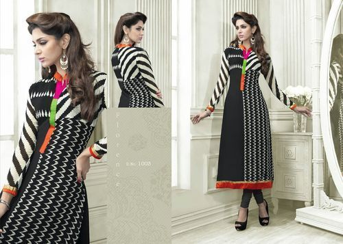"""Designer Wear Printed Georgette Kurti with American Crepe lining in Black and White color. Length: 45"""" and Size: L, XL."""