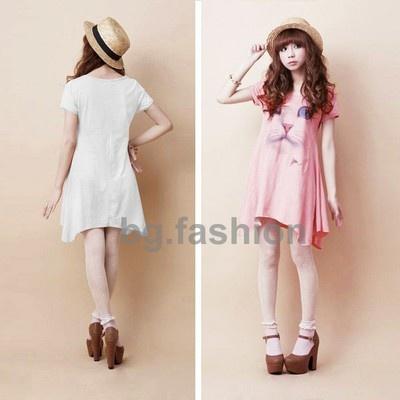 ... Pattern Loose Long Top Short Sleeve T Shirt Mini Dress 3 Color | eBay