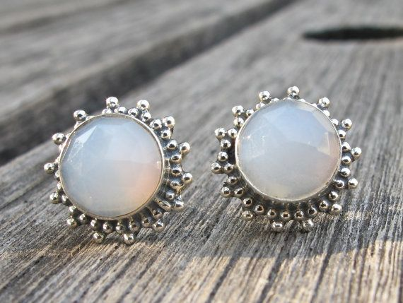 Moonstone Stud Earrings Silver Post Stone Gemstone
