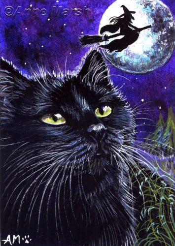 ACEO HALLOWEEN BLACK CAT WITCH FLYING TONIGHT EDT PRINT PAINTING ANNE MARSH | eBay
