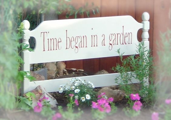 Garden sign from twin bed headboard