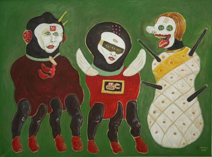 Heri Dono - Three Presidential Candidates 2009 Acrylic on Canvas