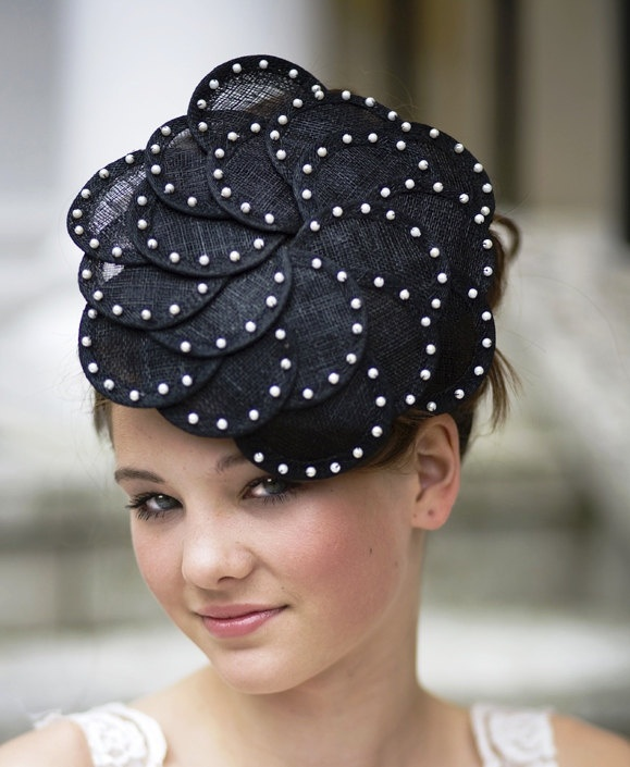 Lizzie Black Flower Style Sinamay Fascinator With Pearl Detailing For Weddings Or Races