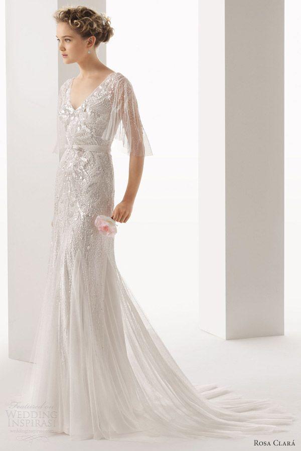 Rosa Clara Ubela Beaded Wedding Dress With Overlay - 2014 Collection - (weddinginspirasi)