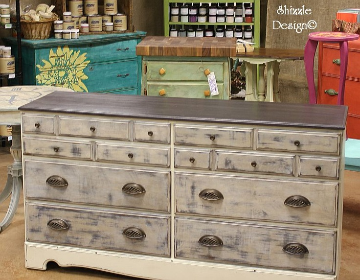 Industrial Chic Dresser ~ Shizzle Design Hand Painted Furniture Chalk Clay  Paint Ideas Color Inspiration Holland