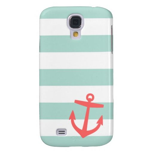 Mint & Coral Nautical Stripes and Cute Anchor Galaxy S4 Case  Love the colors