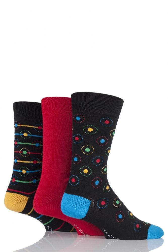 Mens 3 Pair Glenmuir Circled, Striped and Plain Bamboo Socks £8.99