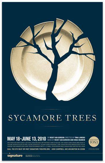 Love this poster design. It's creative to use the broken plate to form a tree shape. The negative space is working well in this one.
