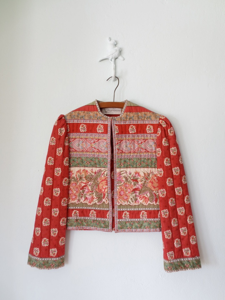 Quilted Jacket Vintage 80's Boho Cropped by sparvintheieletree