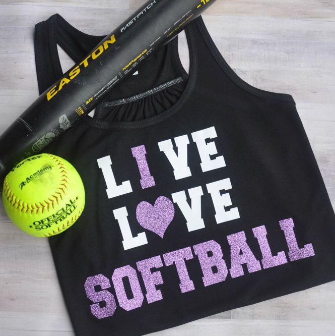 Live Love Softball, Softball Mom, Softball Mom Shirt, Softball Tank, Softball Shirt, Softball Personalized Shirt, Softball Custom Shirt, Sof by LittleDarlingDear on Etsy https://www.etsy.com/listing/448986446/live-love-softball-softball-mom-softball