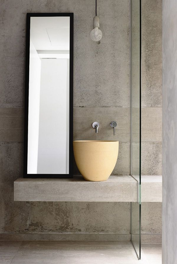paired back #wabisabi bathroom in off set concrete designed by Hyla Architects (photo by Derek Swalwell)