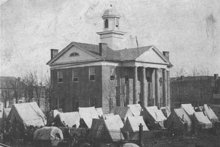 """December 5, 1862. If you were on the Square in Oxford, Mississippi, this is what you would have seen: the men of an Illinois regiment of the Union army camped around the courthouse. In fact, there would be about 40,000 troops now in the Oxford area under the command of Union General Ulysses S. Grant. The raging """"Battle of Coffeeville"""" took place on this date south of Oxford."""