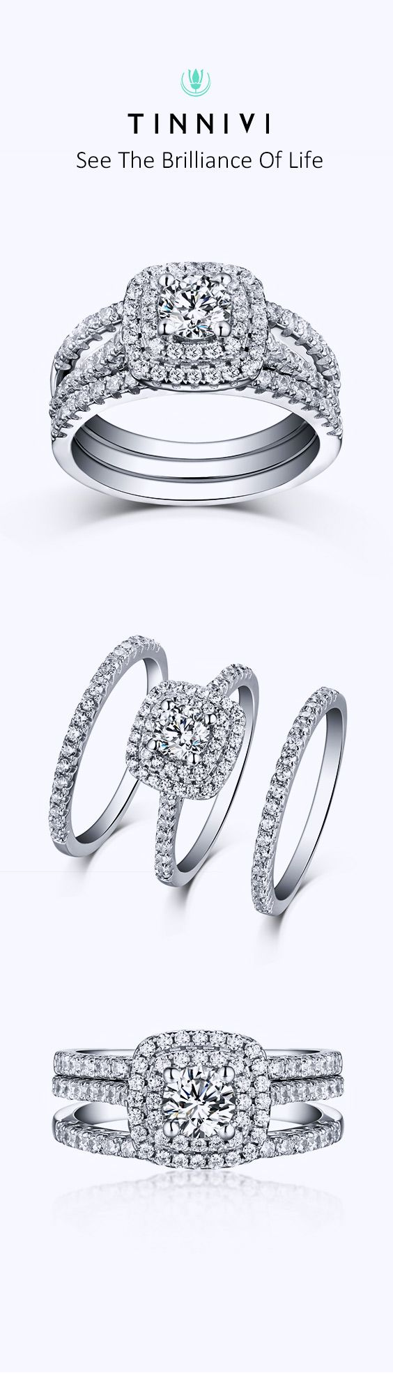 Shop Tinnivi Sterling Sliver Round Cut Created White Sapphire Double Halo 3 Piece Wedding Ring Set online, Tinnivi Jewelry creates quality fine jewelry at gorgeous prices. Shop now!