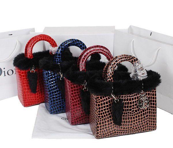 Lady Dior Bag D6652 mini Bag in Croco Leather & Rabbit Hair