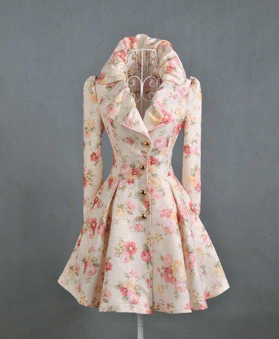Attracive Popular Design Flowers Print Lapel Overcoat : Tbdress.com