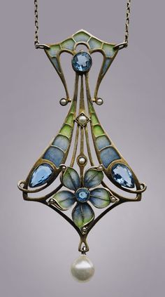 CARL HERMANN Jugendstil Pendant Silver Gilt Plique-à-jour enamel maker's mark German