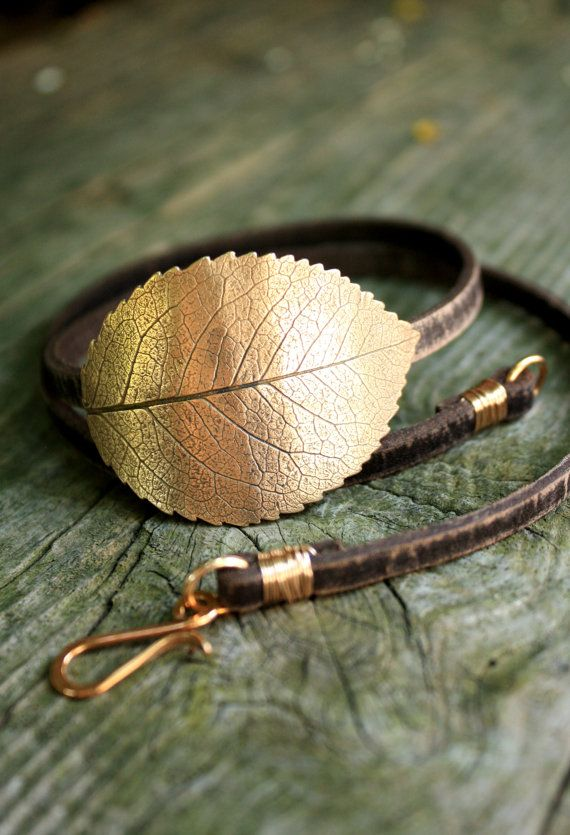 Leaf Bracelet Leather Wrap Music Festival Accessory - Eco Friendly Recycled Bronze - Large Rose Leaf by SilkstoneDesigns, €65.00