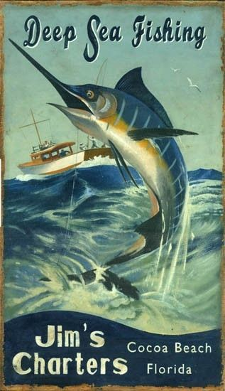 Deep Sea Fishing Vintage Sign