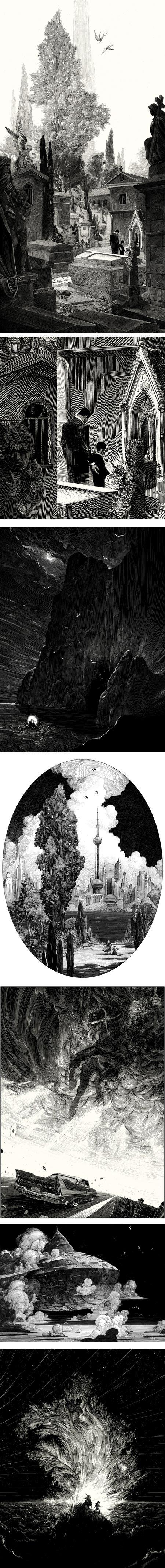 Nicolas Delort, a freelance illustrator based in Paris, creates wonderfully textural pen & ink (on scratchboard) illustrations