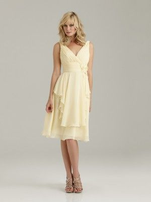 Medium length pale yellow Bridesmaid's dress