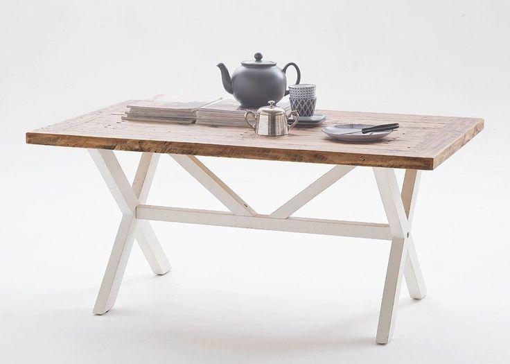 Couchtisch Landhausstil Byron Holz Massiv Weiß mit Vintage Braun 20602. Buy now at https://www.moebel-wohnbar.de/couchtisch-landhausstil-byron-holz-weiss-20602
