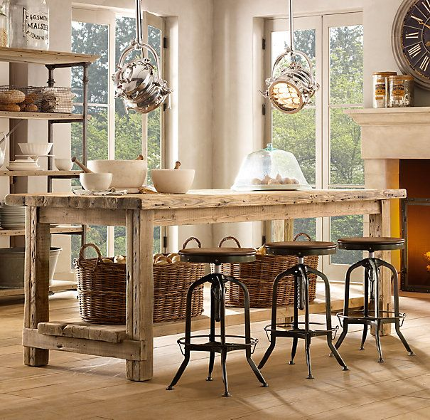 kitchen island - handcrafted using reclaimed pine timbers from 100-year-old buildings in Great Britain. Beautiful!