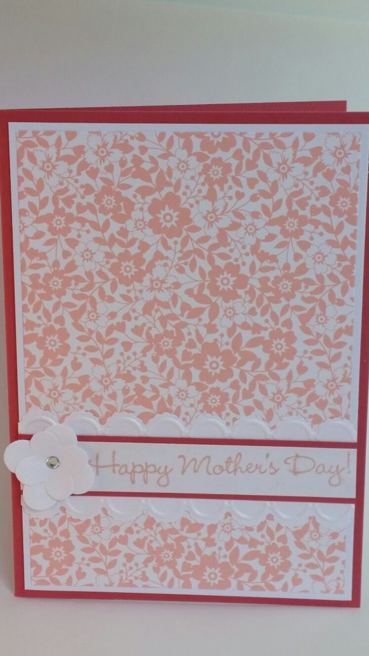 Flower framelits embossed scallop edge happy mother's day handmade card pink/ white flowers