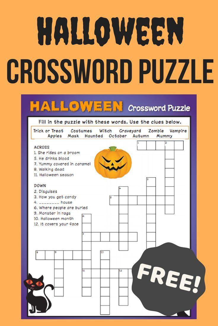 Halloween crossword puzzle 3 worksheet
