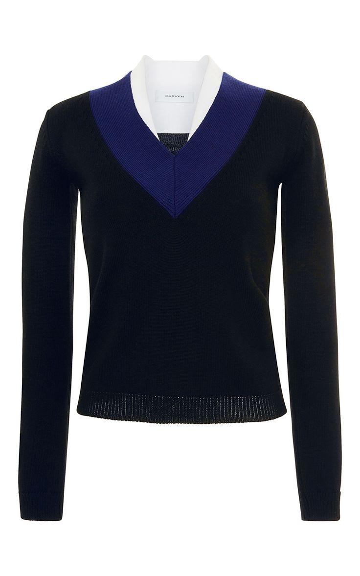 Marine Chevron V Neck Sweater by CARVEN for Preorder on Moda Operandi