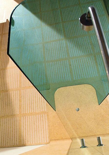 Bigelli Marmi - Yo & Me bathroom by HANS THYGE RAUNKJAER. Detail. Floor in marble Silvia Oro honed with sandblasted bands. Shower box in stratified green singapore crystal.