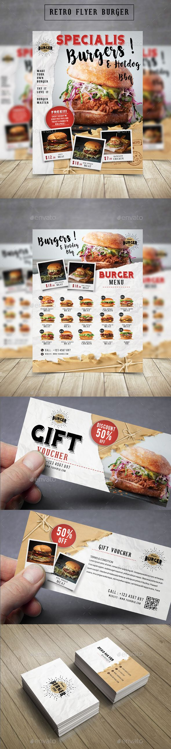 Retro Flyer Burger  — PSD Template #retro menu #flyer • Download ➝ https://graphicriver.net/item/retro-flyer-burger/18297915?ref=pxcr
