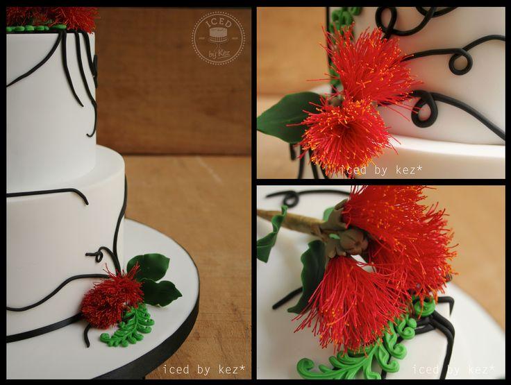 Pohutakawa, Ferns & Black Swirls Wedding Cake! :) kez* x